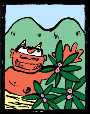 ツチビノキ咲く 鬼の目山
